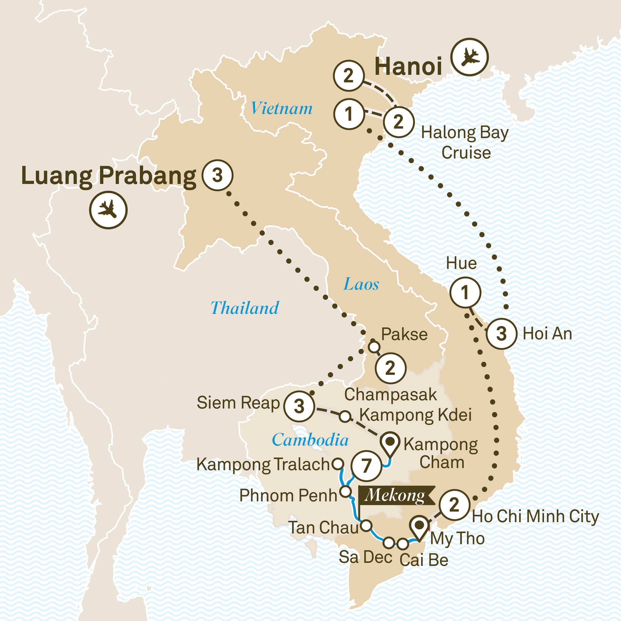 Map for route grand-indochina-luxury-mekong